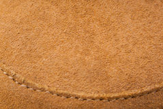 Brown leather suede texture with stitching Royalty Free Stock Photo