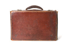 Brown leather suitcase. Old style brown leather suitcase isolated on a white background stock photography