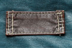 Brown leather tag on green Royalty Free Stock Image