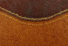 Brown leather texture. Closeup of brown leather texture with seam Stock Image