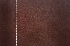 Brown leather texture. With white sewing Royalty Free Stock Photo