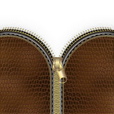 Brown leather texture background with zipper Stock Photography