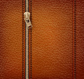 Brown leather texture background with zipper. Stock Images