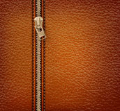 Brown leather texture background with zipper Royalty Free Stock Photos