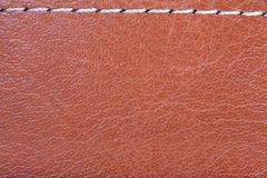 Brown leather texture with stitch Stock Photos