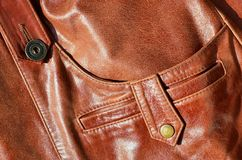 Brown leather texture. Useful as background for any design work. Macro photo of a button on outer clothing made of genuine leathe. R Royalty Free Stock Photography