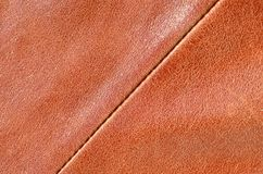 Brown leather texture. Useful as background for any design work. Macro photography of outerwear made of genuine leathe. R Stock Photography