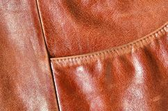 Brown leather texture. Useful as background for any design work. Macro photography of outerwear made of genuine leathe. R Stock Photos