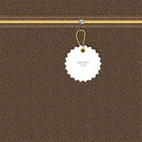 Brown leather texture with yellow and white lightning round tag on a chain. Vector Royalty Free Stock Images