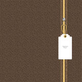Brown leather texture with yellow and white lightning square tag on the chain. Vector Stock Photo