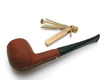 Brown leather tobacco pipe Stock Photo
