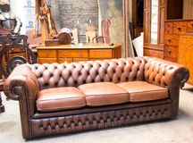 Chesterfield sofa. Brown leather used Chesterfield sofa Stock Photo