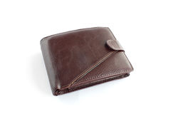 Brown leather wallet. On white background Royalty Free Stock Image