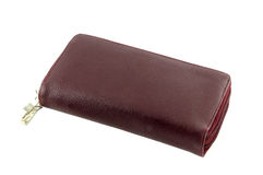 Brown leather wallet. With zipper Stock Photo