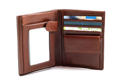 Brown leather wallet Stock Image
