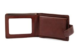 Brown leather wallet with a blank space for credit card #2 royalty free stock photography