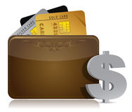 Brown leather wallet with credit cards inside Stock Photos