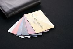 Brown leather wallet with Credit, debit and discount cards Royalty Free Stock Photo