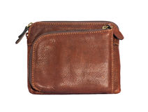 Brown leather wallet. A brown leather wallet, isolated, overwhite Royalty Free Stock Images