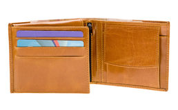 Brown leather wallet isolated on white stock image