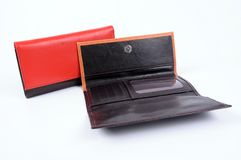 Brown leather wallet isolated stock photography