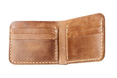 Brown leather wallet isolated on white Stock Images