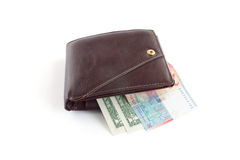 Brown leather wallet with money. On white background Stock Photo