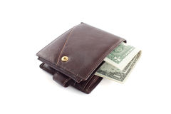 Brown leather wallet with money 2. Brown leather wallet with money on white Royalty Free Stock Image
