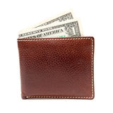 Brown leather wallet with money Stock Photos