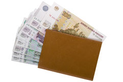 Brown leather wallet with money Royalty Free Stock Images