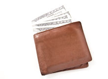 Brown leather wallet with money isolated Stock Photography
