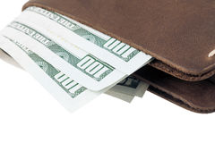 Brown leather wallet with money isolated on white Stock Photo