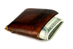 Brown leather wallet with money Stock Image