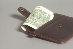 Brown Leather Wallet With One Dollars Royalty Free Stock Photo