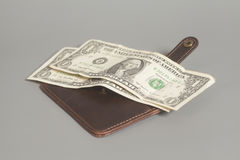 Brown Leather Wallet With One Dollars Stock Image