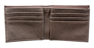 Brown Leather Wallet Open and Empty Stock Images