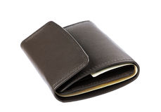 Brown leather wallet or purse with money isolated on white Royalty Free Stock Photo