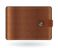 Brown leather wallet. Vector illustration  on white Royalty Free Stock Image