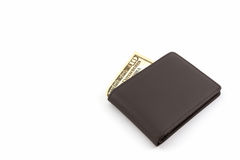 Brown leather wallet. Royalty Free Stock Photography
