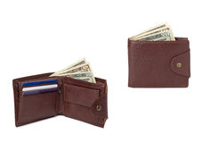 Brown leather wallets with money Royalty Free Stock Images
