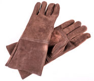 Brown leather welders gloves. Close up of a brown leather welders gloves Royalty Free Stock Images