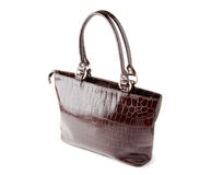 Brown leather women handbag. White isolated Royalty Free Stock Image