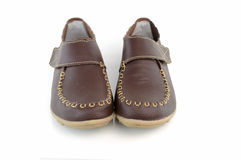 Brown leather women's shoes Royalty Free Stock Photo