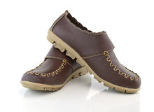 Brown leather women's shoes Royalty Free Stock Photography
