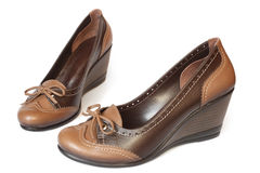 Brown leather women shoes Stock Images
