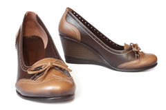 Brown leather women shoes Royalty Free Stock Photography
