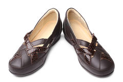 Brown leather women shoes Stock Photo