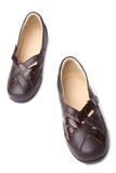 Brown leather women shoes Royalty Free Stock Photos
