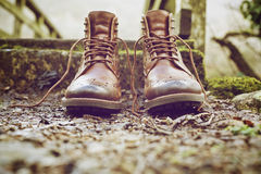 Brown Leather Work Boots on Ground Royalty Free Stock Image