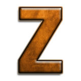 Brown leather Z. Individual isolated letter Z in brown leather series Stock Image